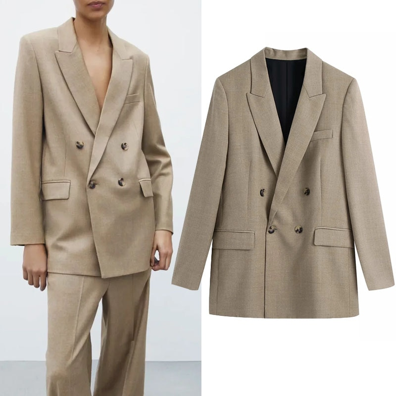 Za-جاكيت نسائي كاكي مزدوج الصدر ، ملابس رسمية ، عتيق ، ياقة طية صدر السترة ، أكمام طويلة ، ربيع 2021