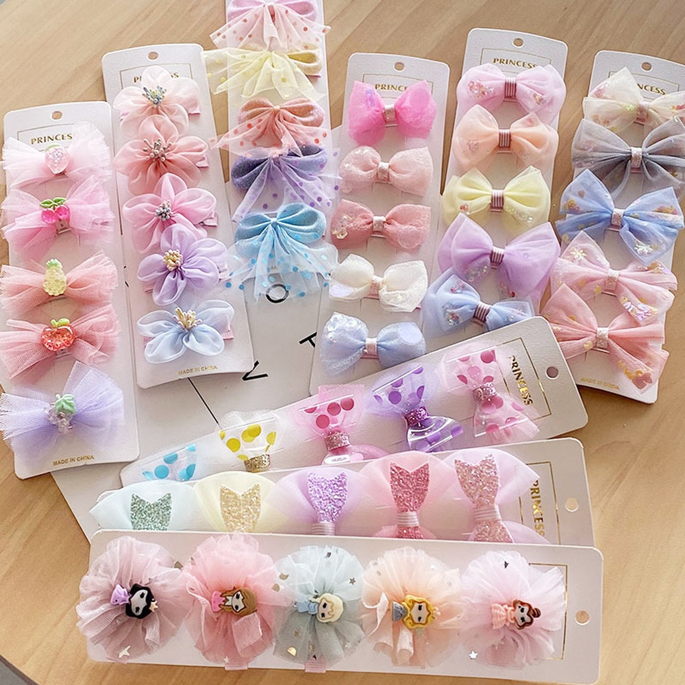 Dropship 5pc/set Cute Childrens Bow Hair Clips Set Fabric Hairpin Accessories for Girls Lovely Cartoon Flowers Headwear