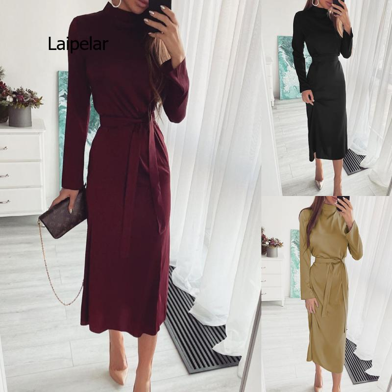 Autumn Elegant Solid Long Dress Lady Turtleneck Slim Party Dress Spring Fashion Lace Waist Women Long Sleeve Casual Dresses autumn summer new women shirt dress long sleeved female dresses slim fashion party office lady sundress plus size casual rob