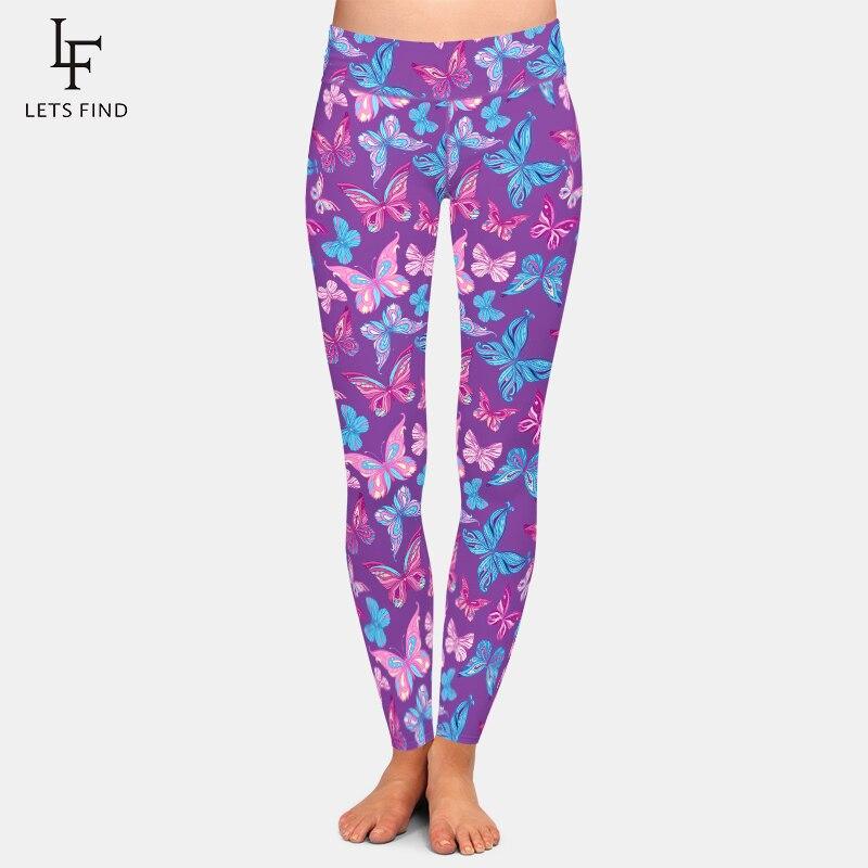 LETSFIND, mallas de cintura alta de realce para mujer, estampado Digital de mariposas hermosas, pantalones elásticos de Fitness a la moda de talla grande