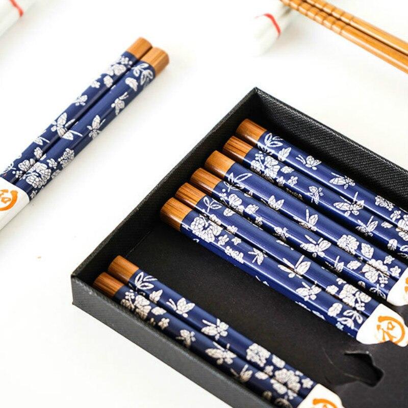 Juego de 5 pares de vajilla para el hogar de estilo japonés, palillos de bambú saludables, palillos puntiagudos, vajilla de Bambú