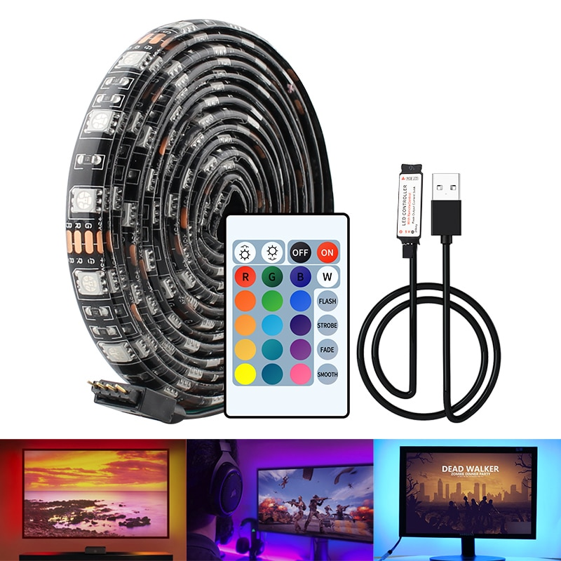 5V USB LED franja de 5050 RGB cinta 1M 2M 3M 4M...