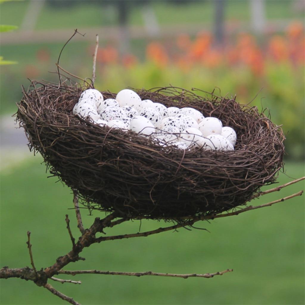 Decoración creativa de Pascua de Mini huevo de codorniz Artificial hecho a mano, modelo de Nido de Pájaro, jaula de pájaro