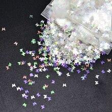 3 Mm Spiegel Holografische Glitter 50G Vlinder Glitter Kleurrijke Vlinders Nail Art, Glitter Nagellak, nail Art Glitter Vorm