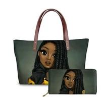 new custom mode 2pcsset black queen african girls handbagspurse women beach totes ladies top handle bags for females handbag