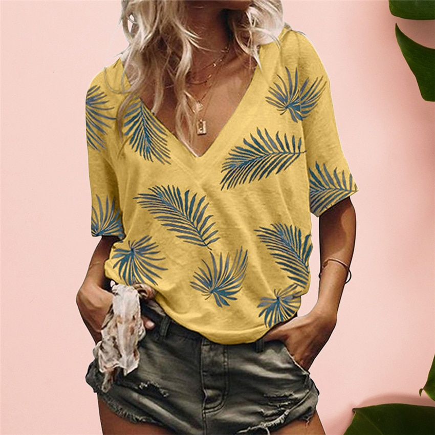 2020 Summer Women Top Tee Plant Print T Shirt V-Neck Tees Women Half Sleeve Casual Tops tshirt Prairie Chic Female Shirts Women