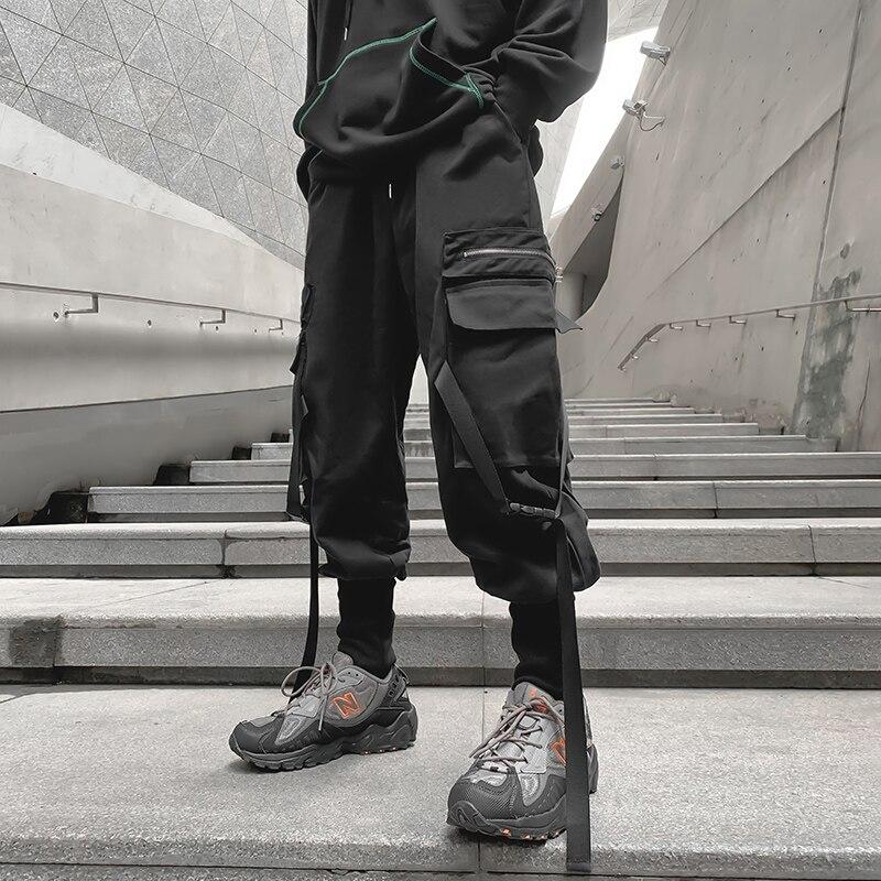Брюки-карго мужские в стиле хип-хоп, хлопковые джоггеры, модные спортивные штаны, повседневные брюки-султанки в стиле Харадзюку, осень