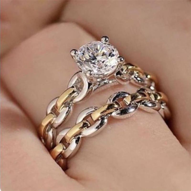 2-шт-компл-натуральный-Классические-Женские-Двухцветные-часы-полое-кольцо-со-стразами-украшена-белыми-кристаллами-ювелирный-набор