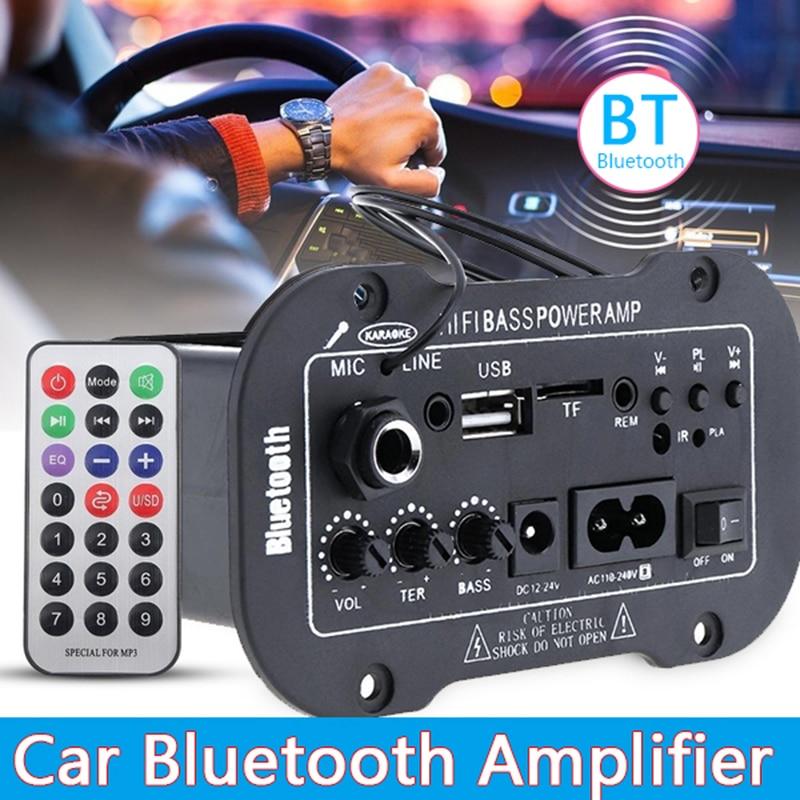 Placa amplificadora Digital Universal con Bluetooth, amplificador de 220V, 12v-24v, Subwoofer, micrófono...