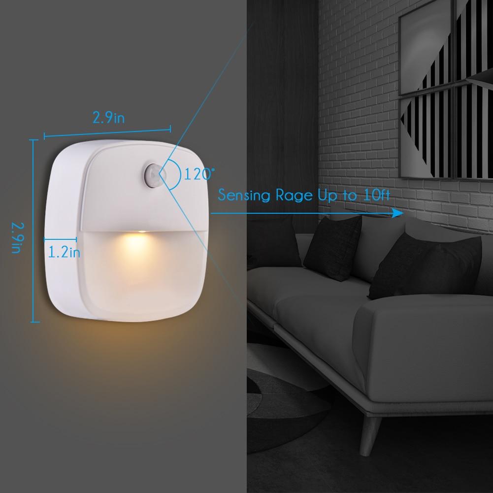 Motion Sensor Night Light 2 PCS Stick-On LED Light Magnetic Infrared Wall Lamp Cabinet Stairs Light Battery-Powered Night Light