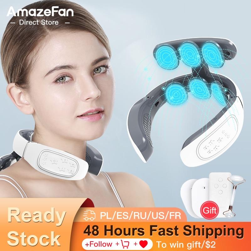 Massage du cou Masseur de cou avec 6 plaques d'électrodes, masseur 4 modes, impulsion électrique, 15 vitesses d'intensité et mode de chauffage, chargeur USB