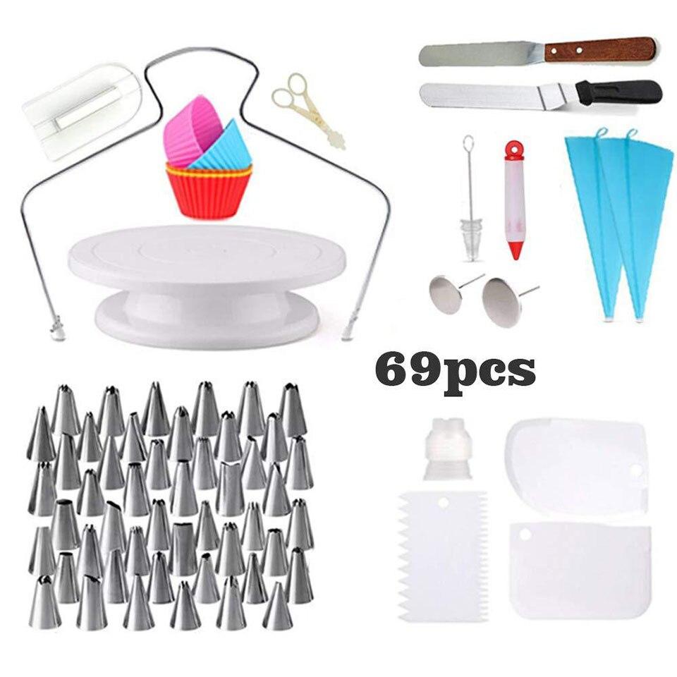 69 قطعة أدوات تزيين الكيك لوازم مع الدوار كعكة الدوار تزيين القلم نصائح الجليد سلاسة مقرنة الخبز مجموعة