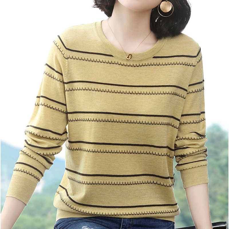 Jersey Mujer Invierno 2019 New Stripe Pullover Women Pink High Elastic Winter Fall Sweater Knitted Korean Style Pull Femme Hiver