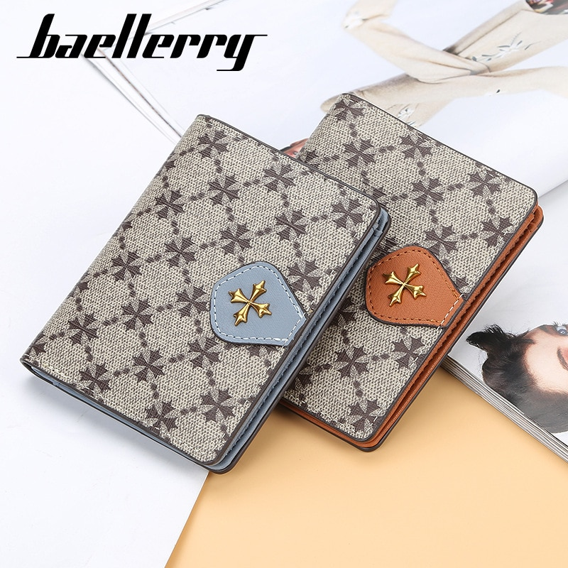Baellerry Women Wallet PU Leather Hasp Small and Slim Coin Pocket Purse Wallets Cards Holders Cross Pattern