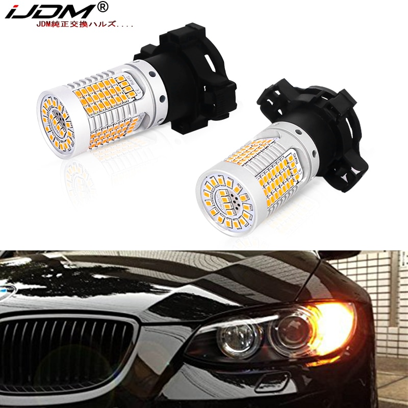 IJDM سيارة PY24W LED Canbus لا فرط فلاش العنبر الأصفر لسيارات BMW E90/E92 F10/F07 E83 X3 E70 X5 E71 X6 الجبهة بدوره أضواء الإشارة 12 فولت