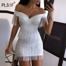 Women tassel design white short dress sexy v-neck off the shoulder sheath dress night club party sexy mini dress