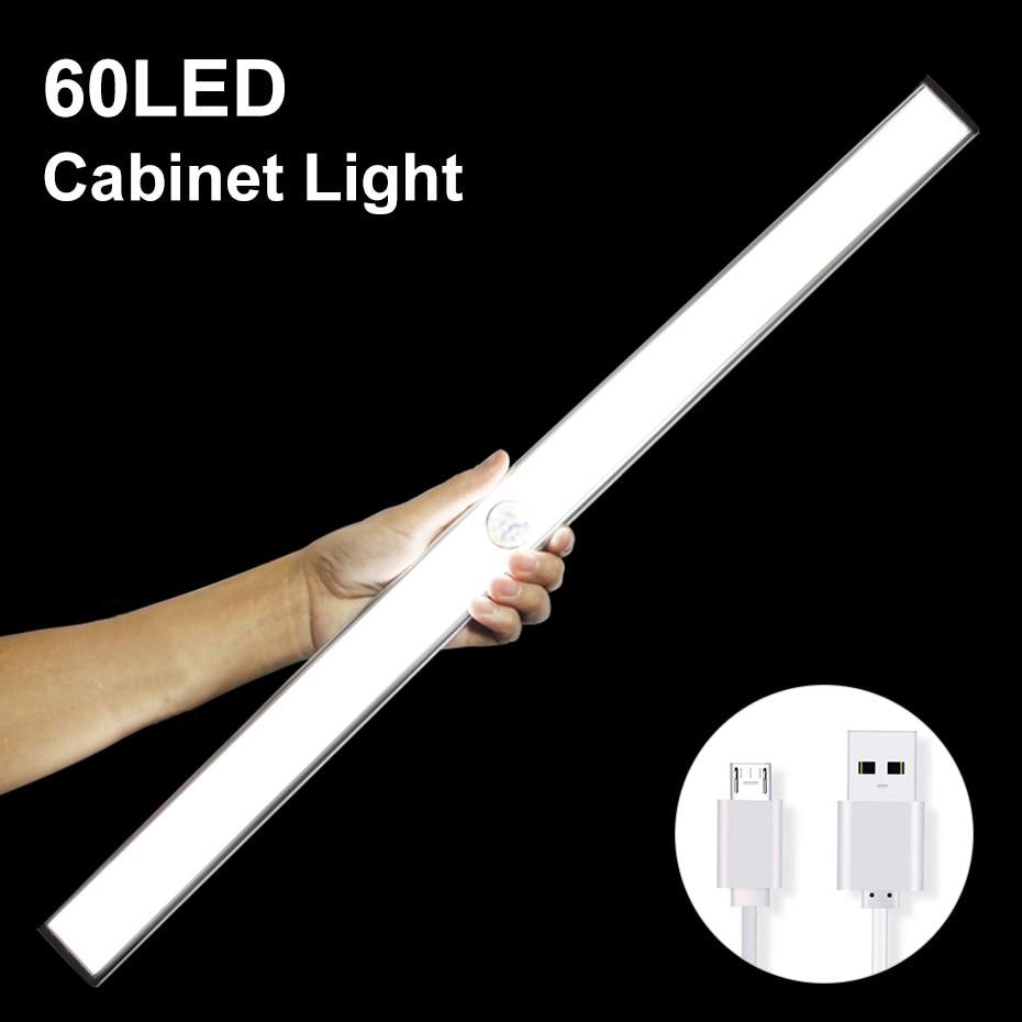 24 40 60 LED Closet Light USB Rechargeable Under Cabinet Lightening Stick-on Motion Sensor Wardrobe Light with Magnetic Strip