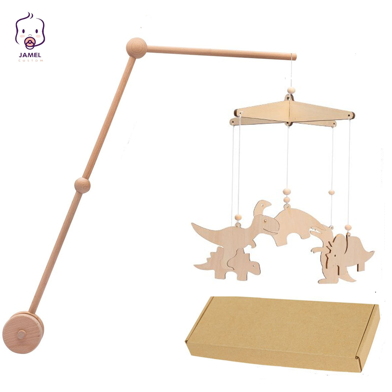baby toys white rattles bracket set baby crib mobile bed bell toy holder arm bracket wind up music box drop shipping 1Set Baby Mobile Hanging Rattles Toys Dinosaur DIY Hanging Baby Crib Mobile Bed Bell Fixed Adjustable Toy Holder Arm Bracket