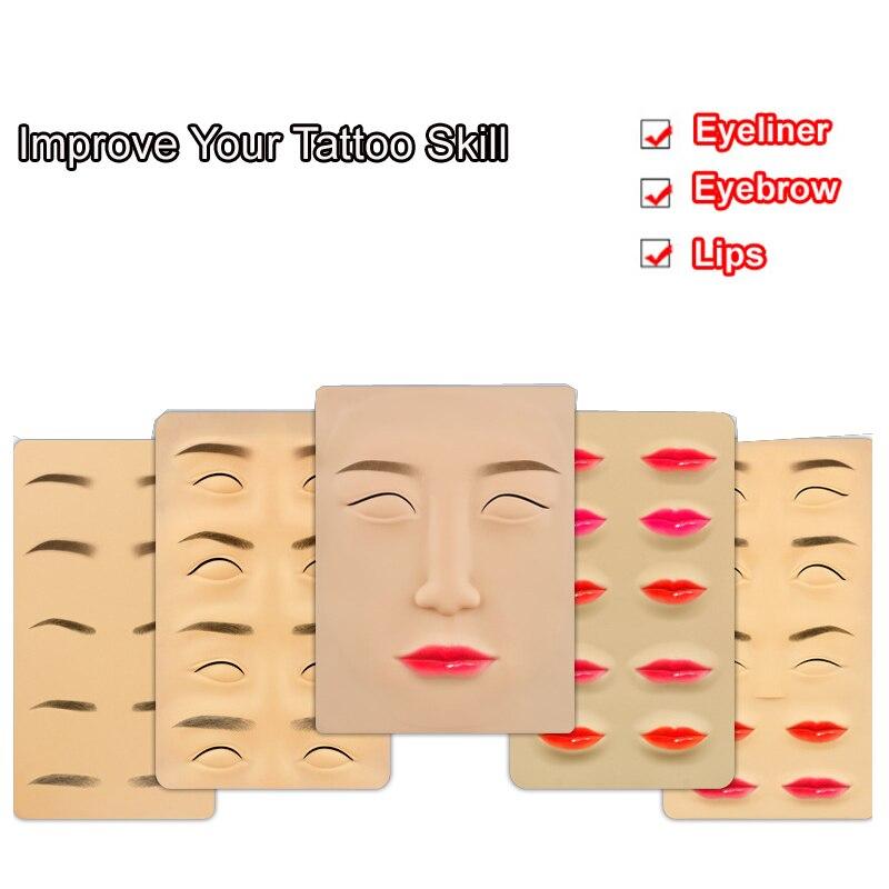 3D Tattoo Silicone Treinamento microblading Pele Maquiagem Permanente pen Sobrancelha lips rosto branco Falso Pele Prática Iniciante