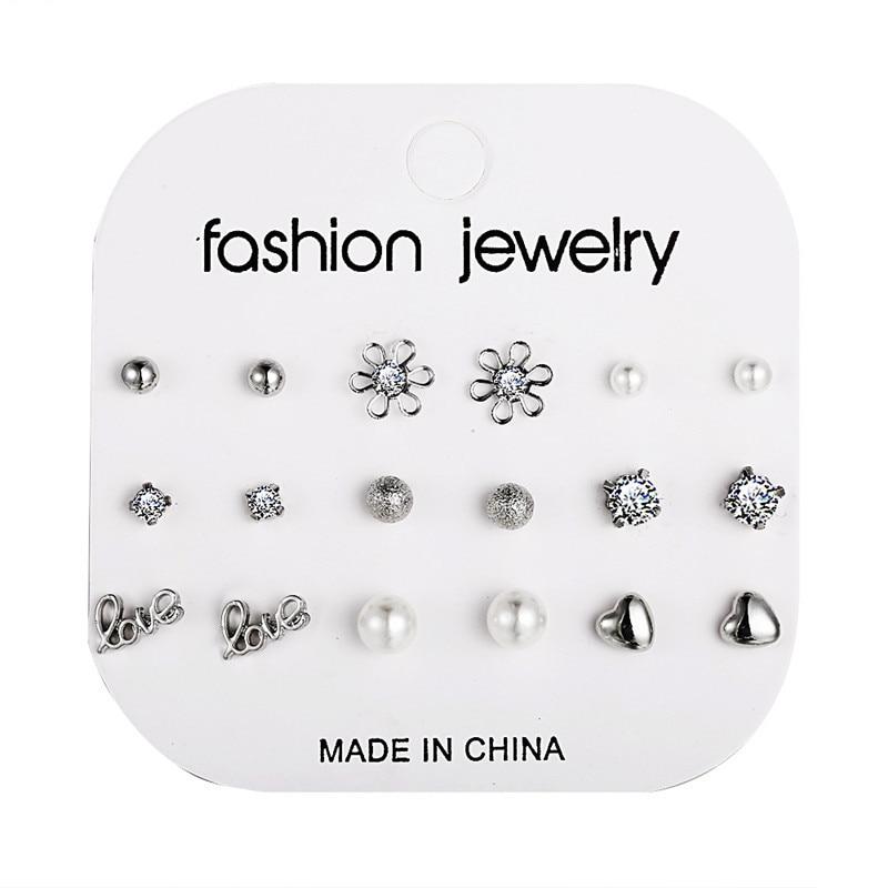 12 pairs/set Crystal Simulated Pearl Stud Earrings Set Women Jewelry Flowers Piercing Ball Stud Earring kit Bijouteria brincos