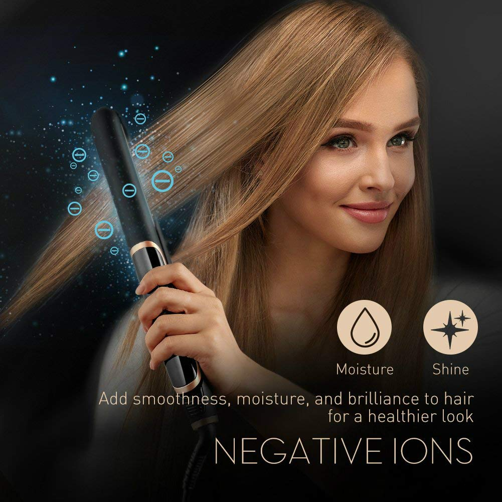 Professional Hair Straightener Ceramic Flat Iron Infrared Negative Ion Straightening Curling Corrugated LED Display Styling Tool