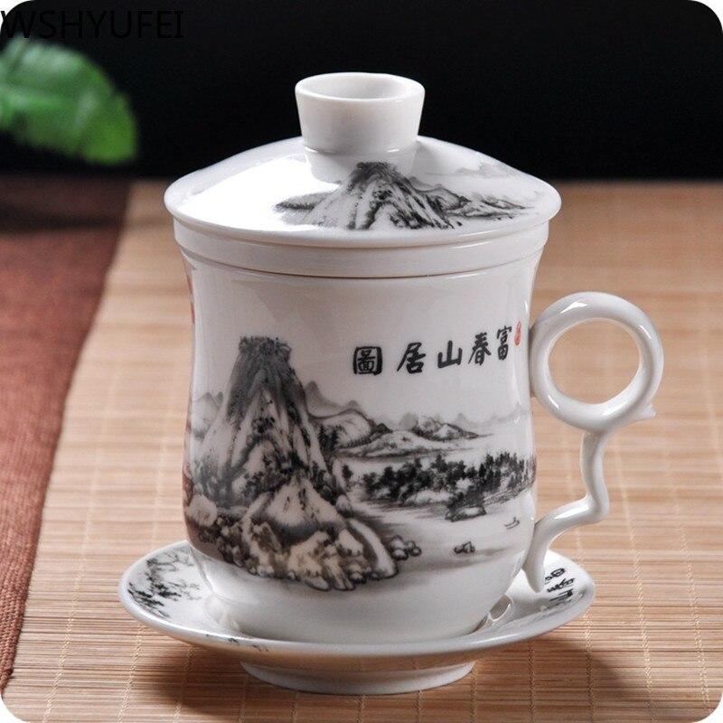 Chinese ceramic tea cup with strainer Tea set tea set Oolong tea Pu'er tea cup Travel tea cup Office household tea set WSHYUFEI
