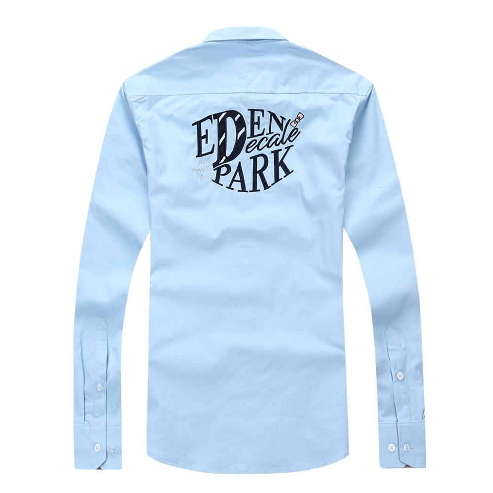 Новинка 2020, мужская рубашка Eden park Homme Chemise, 100% хлопок, высокое качество, модная, деловая, повседневная, с вышивкой, M до 3XL
