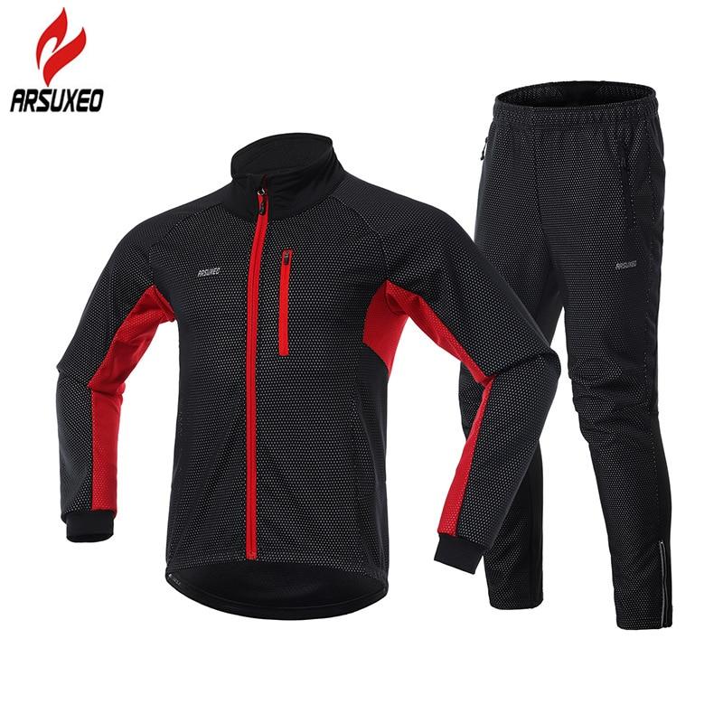ARSUXEO, conjunto de chaqueta de Ciclismo de Invierno para hombre, forro polar térmico reflectante, cálido, ropa de ciclismo de montaña, chaqueta para bicicleta, pantalones para bicicleta