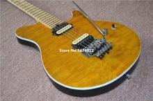 Guitarra eléctrica de ondas de agua amarilla personalizada 2020, captación de cebra doble vibrato, gastos de envío gratis