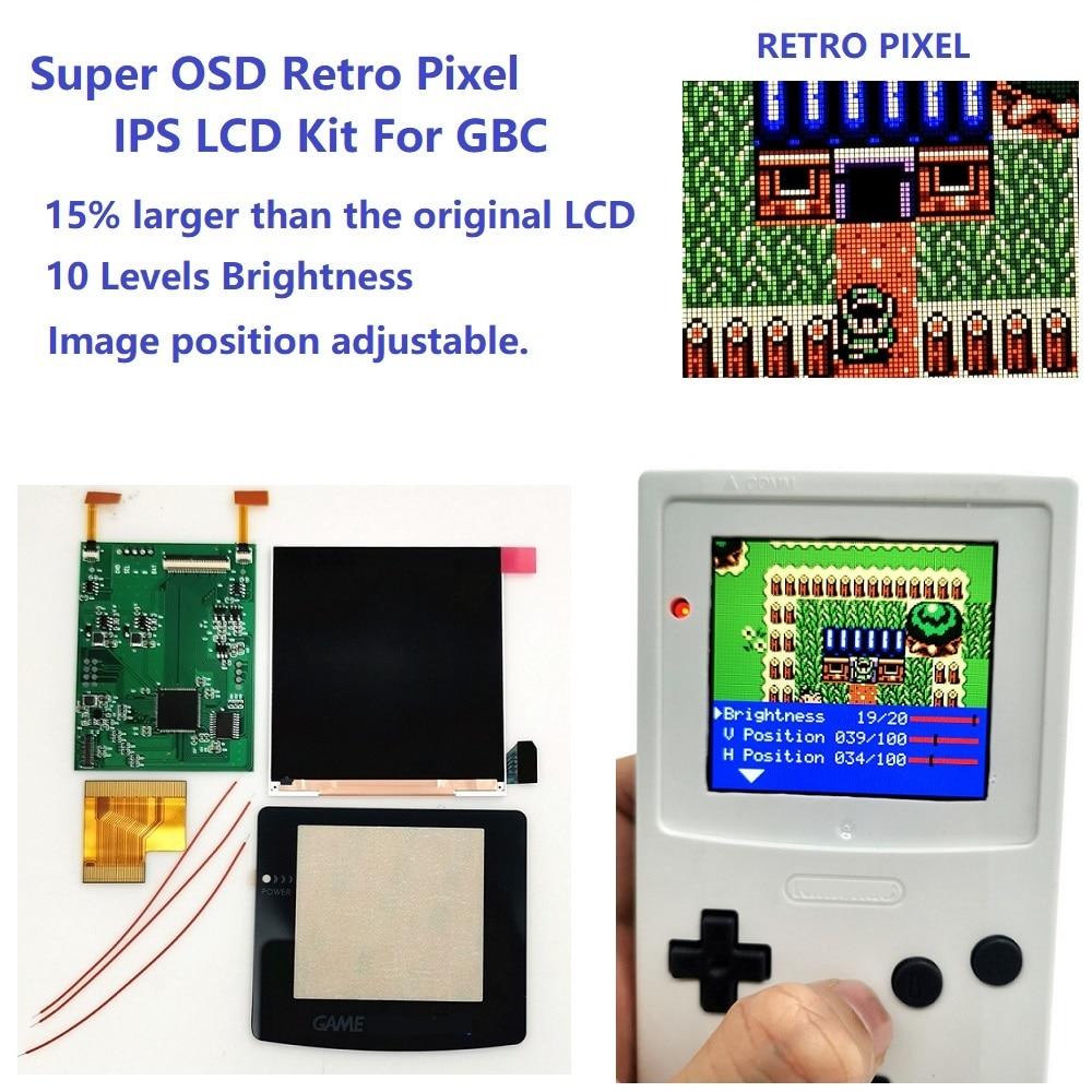 سوبر OSD نسخة ريترو بكسل IPS LCD مجموعة أدوات الشاشة الخلفية سطوع ل GameBoy اللون ل GBC IPS LCD عدة