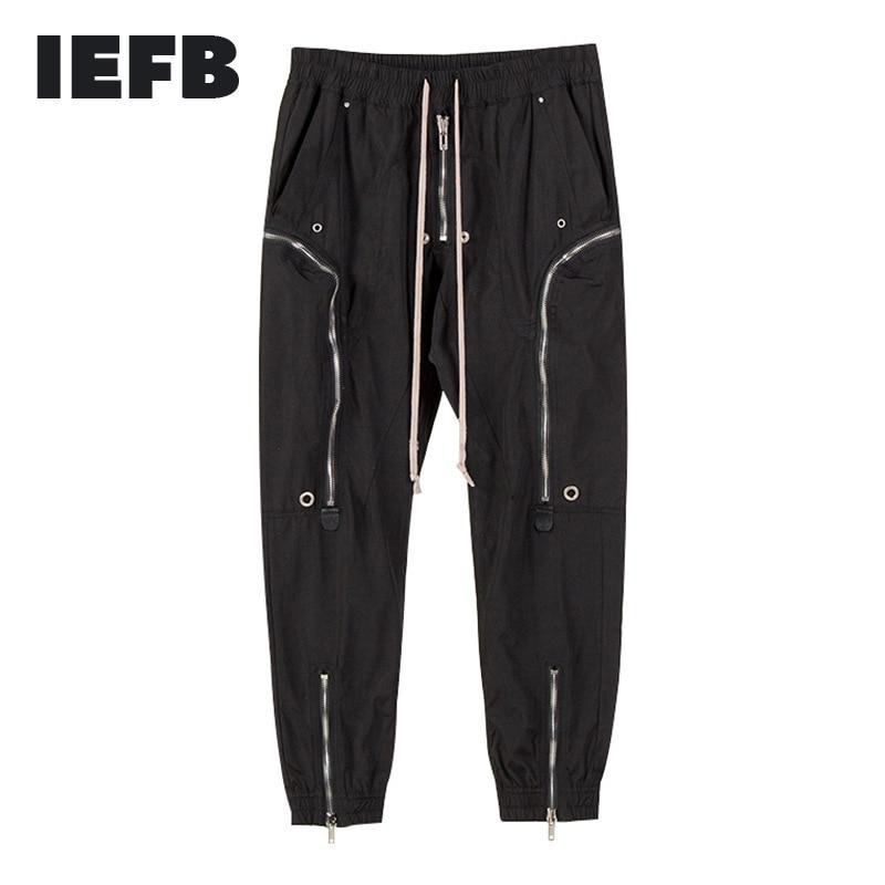 IEFB-بنطلون رجالي عالي الجودة ، ملابس الشارع ، عصري ، متعدد بسحاب ، غير رسمي ، برباط ، خصر مرن ، طول الكاحل