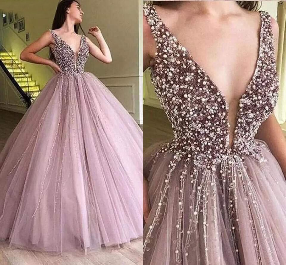 Sexy Deep V Neck Prom Dresses Beaded Crystals Sequins Princess Tulle Party Evening Gowns Floor Lengt