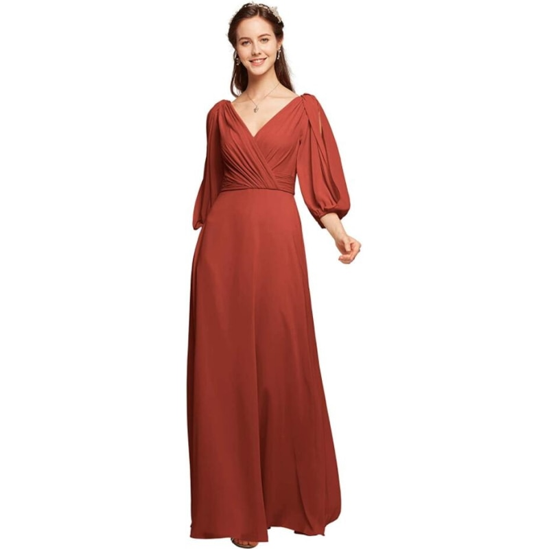 2021 V-Neck Chiffon Floor Length Backless Bridesmaid Dress Evening Dress with 3/4 Long Sleeves for Ladies' Party Dress