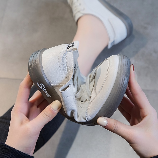 AIYUQI Sneakers Shoes women Genuine Leather Casual All-match White Shoes Women Flat Large Size Non-slip Loafers For Girls 10