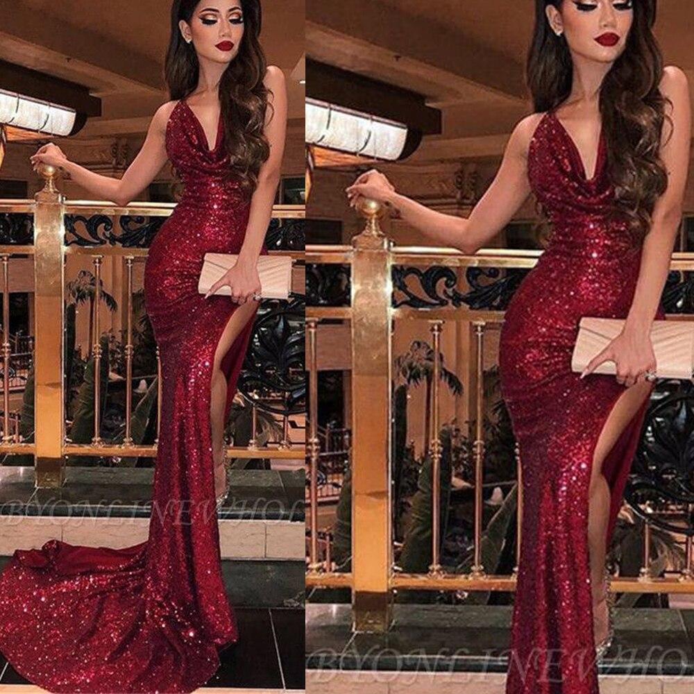 sparkly prom dresses v neck pleats side slit sexy evening dresses sequins draped formal dresses aben