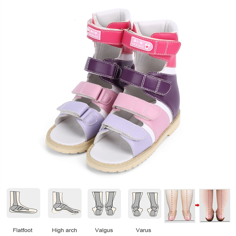 Kids Orthopedic Sandals Girls Boys High-Top Shoes With Arch Support Insole Hard Wearing Leather EVA Sole Breathable Footwear