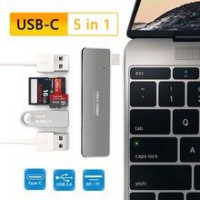 USBC Hub 5 in 1 tip C 3 port USB3.0 TF USB kart okuyucu USB C tipi-c dok istasyonu dizüstü bilgisayar macbook adaptörü Pro 2017 2018