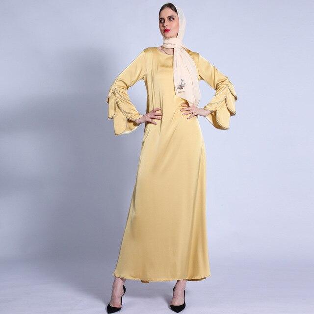 Ramadan Eid Silky Beading Cascading Abaya Hijab Muslim Dress female Caftan Turkish Islamic Kaftan Robe Musulman Abaya 4