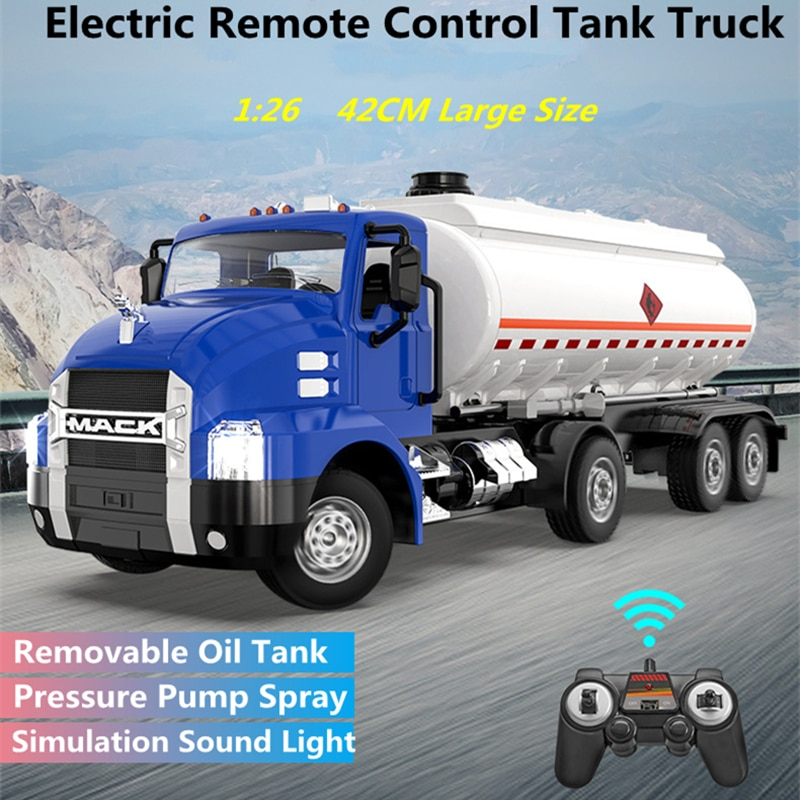 42CM Large Electirc RC Tanker Truck 1:26 30Mins 90 Degrees Turn Simulation Speaker Spray Water Speed Switch Remote Control Truck