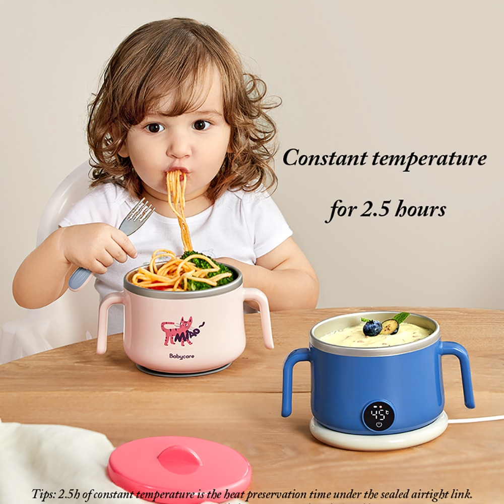 Baby Sucker Dishes Wireless Charging 2.5h Constant Temperature Feeding Bowl Waterproof Stainless Steel Tableware