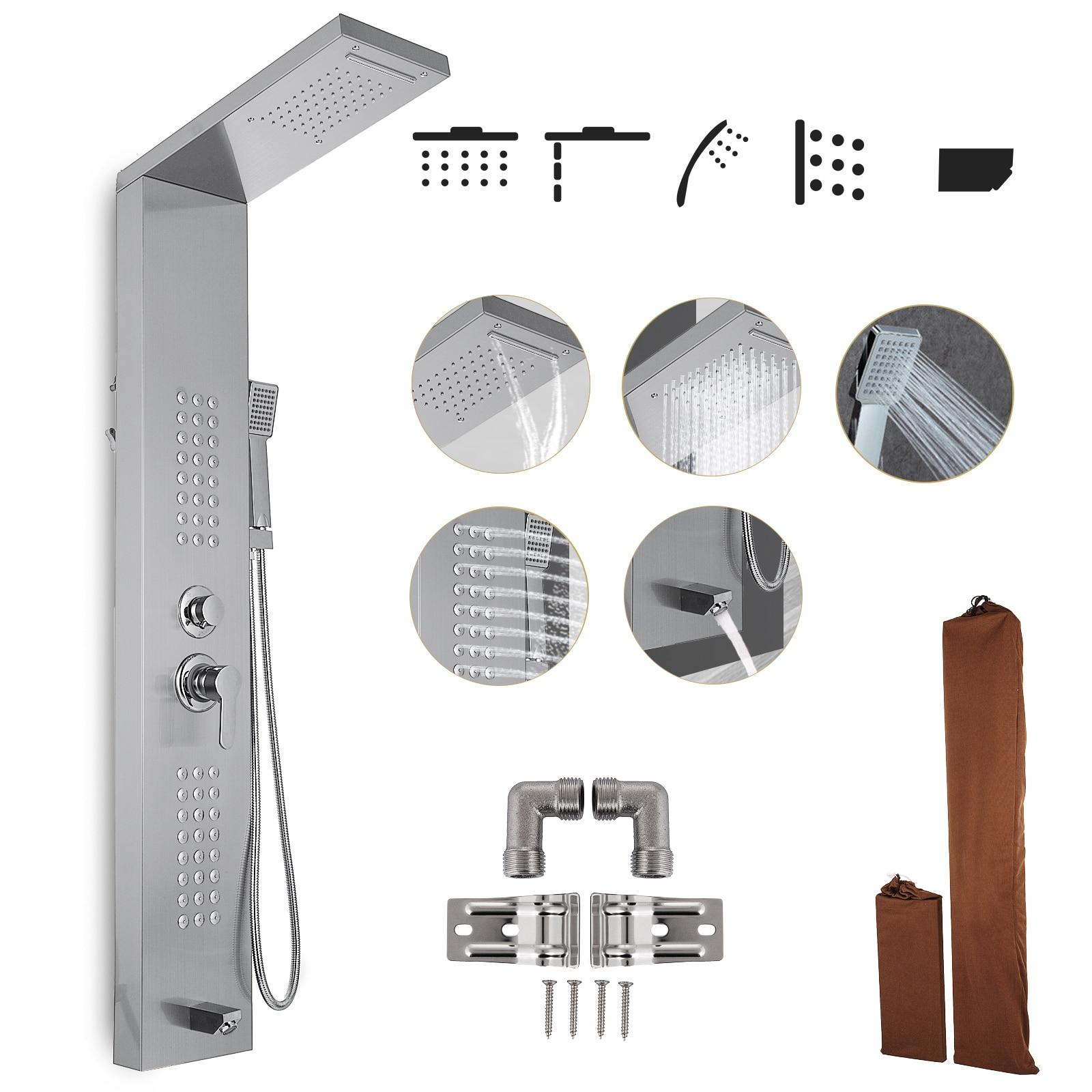 VEVOR الأمطار دش الاستحمام برج الفولاذ المقاوم للصدأ متعددة الوظائف دش الاستحمام نظام لوحات مع تدليك الجسم الطائرات حوض منتجع