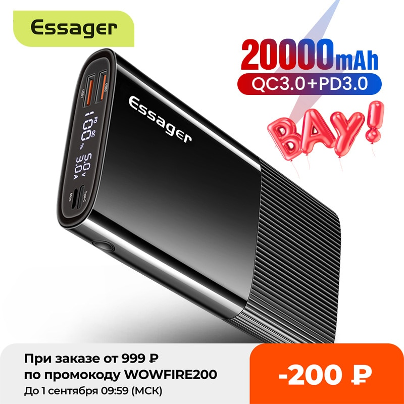 Essager-شاحن بطارية خارجي محمول 20000 مللي أمبير ، 3.0 مللي أمبير ، USB Type C PD QC 20000 ، لشاومي