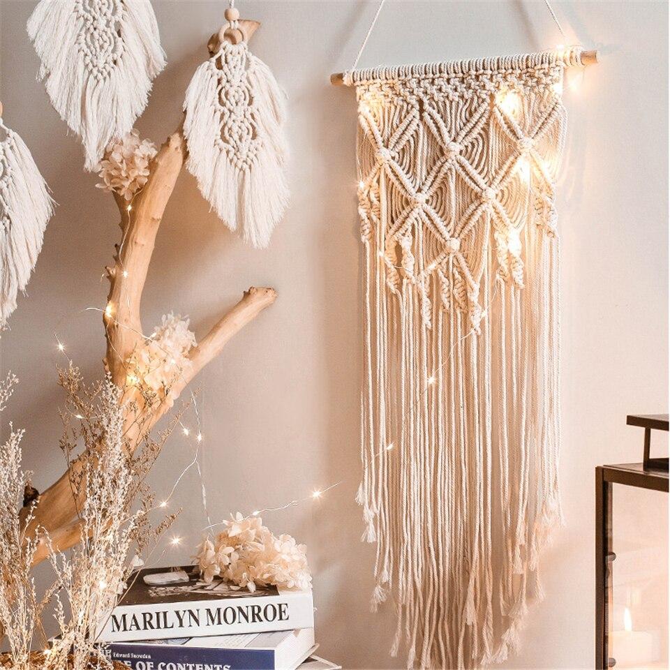 Tapiz de macramé tejido Chic para colgar en la pared, decoración Bohemia para boda, sala de estar, acentos de pared para chicas, decoración nórdica, tapices para el hogar