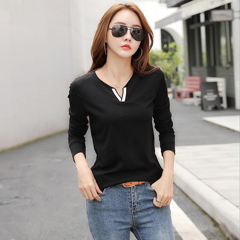 New cotton V-neck long-sleeved T-shirt undershirt women 2019 gray