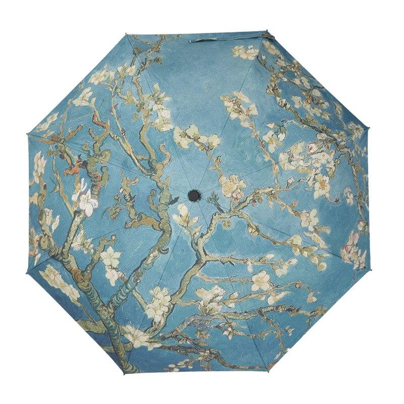 Paraguas pintura al óleo Vencent van Gogh Manual para mujeres paraguas UV creativo para Parasol portátil femenino