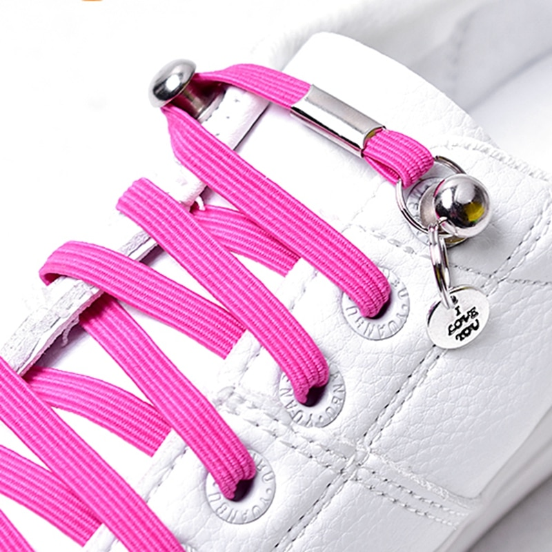 AliExpress - 1 Pair No Tie Shoelaces Chidren and Adults Leisure Sneakers Flat Shoelace One Hand Quick Metal Locking Lazy Laces Unisex