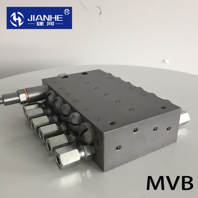 MVB سلسلة الشحوم الموزع كتلة التشحيم الموزع التدريجي تزييت مقسم صمام 2-14way