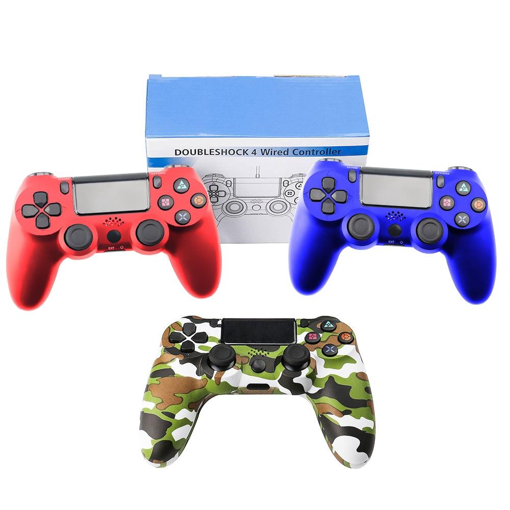 Przewodowy Gamepad dla Playstation Sony PS4 kontroler Joystick Joypad Controle do kontrolera DualShock wibracji Joystick do Play Station 4