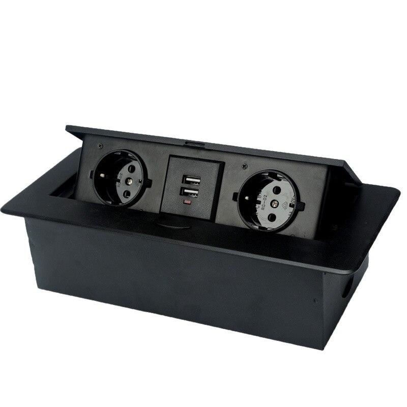 Depoguye أسود الاتحاد الأوروبي سطح المكتب بطيئة البوب المقبس ، المطبخ مكتب غرفة الاجتماعات الجدول المزدوج المقبس مع USB للمنزل AC110V -250 فولت