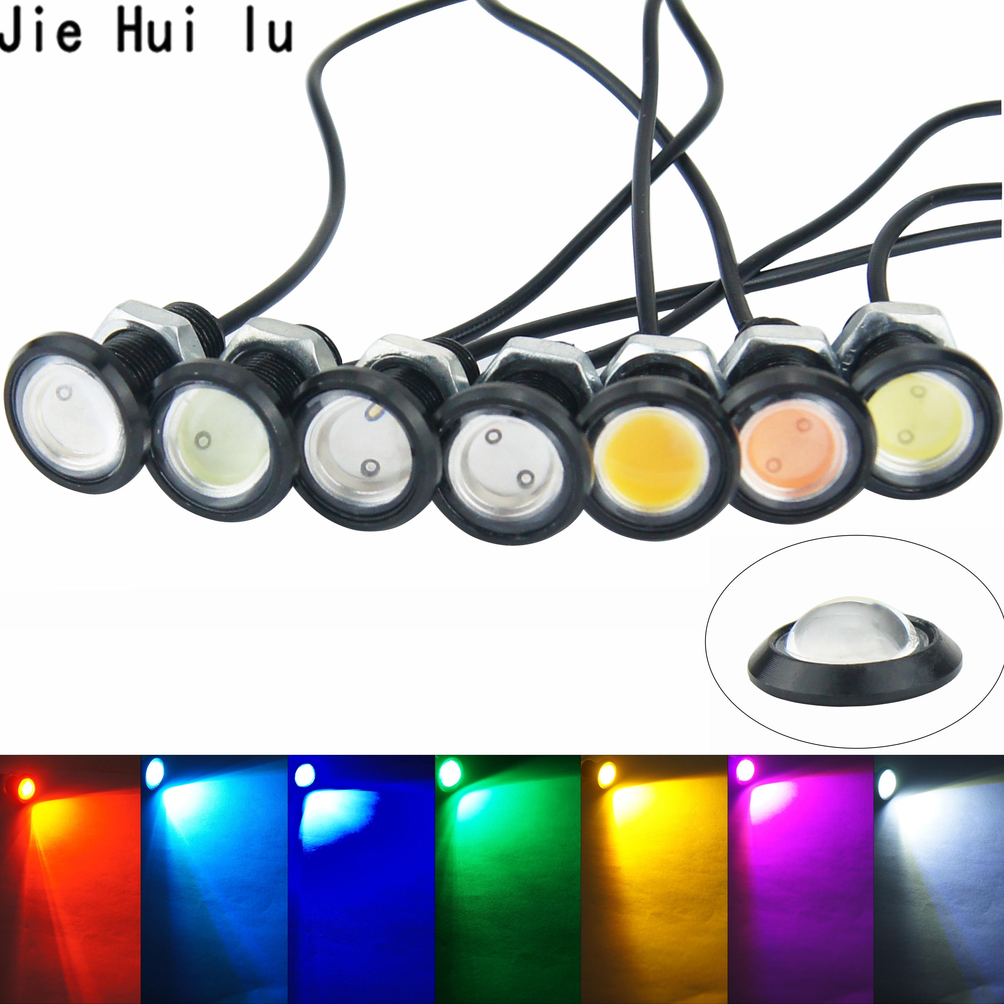 1 Uds., luz LED ojo de águila para coche, luces de circulación diurna DRL, luz de señal de aparcamiento para coche, 12v 18mm 23mm para motocicleta